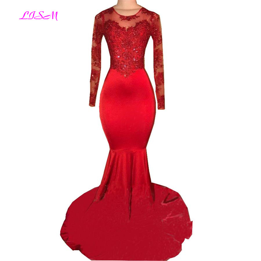 2019 Newest Long Sheer Sleeves Red Mermaid Evening Dress Appliques Beaded Satin Formal Occasion Dresses Vestido De Festa
