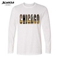 BLWHSA USA City Chicago Design Printed Long Sleeve T Shirt Men Autumn Casual Male Streetwear Tshirt