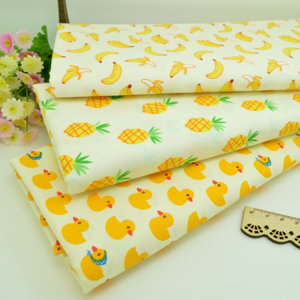 100*160cm Banana pineapple duck Cotton Fabric Patchwork Tissue Cloth Of Handmade Quilting Sewing Baby Sheets Dress Material