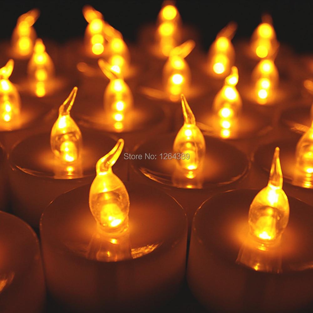 100 sztuk boże narodzenie Flameless LED bursztynowy żółty baterii herbata światło świece Tealight Tea Party świeca ślubna w Świece od Dom i ogród na  Grupa 2
