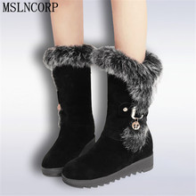 Autumn Winter warm Snow Boots Shoes Rabbit Fur Women Height Increasing Fashion Women's Boots Brand Woman Ankle Botas Size 34-43 недорго, оригинальная цена