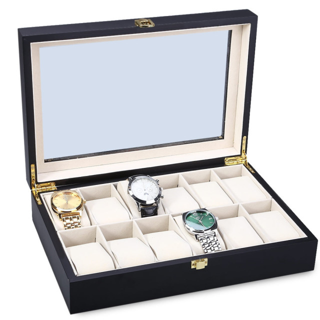 Classic 12 Slots Wood Watch Display Case Watches Box Glass Top