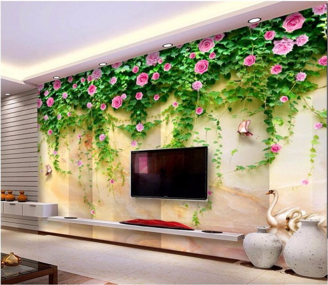 Custom Mural Photo 3d Room Wallpaper Swan Lake Marble Flower Vine Home  Decor Painting 3d Wall