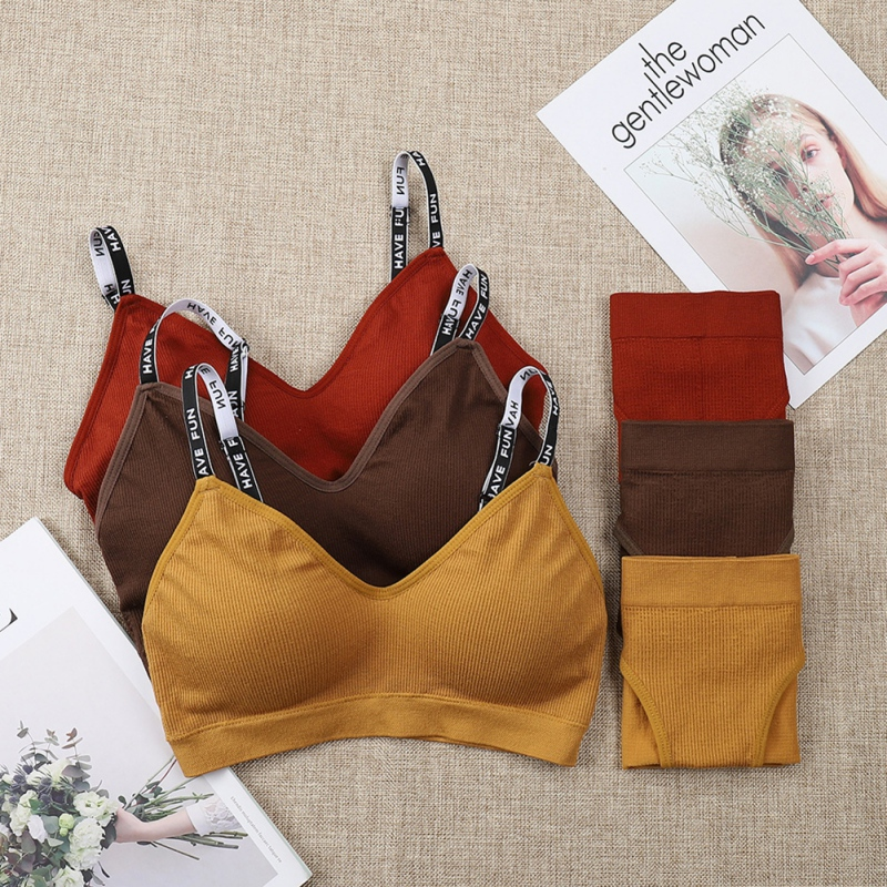 Adjustable Push Up Bras Set Women Knitting Letter Straps Bra Sets Seamless Breathable Panties Suits