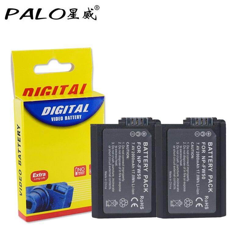 Palo 2Pcs 2000mah NP-FW50 NP FW50 For Sony NEX-7 NEX-5N NEX-5R NEX-F3 NEX-3D Alpha a5000 a6000 DSC-RX10 Alpha 7 a7II Alpha 7R