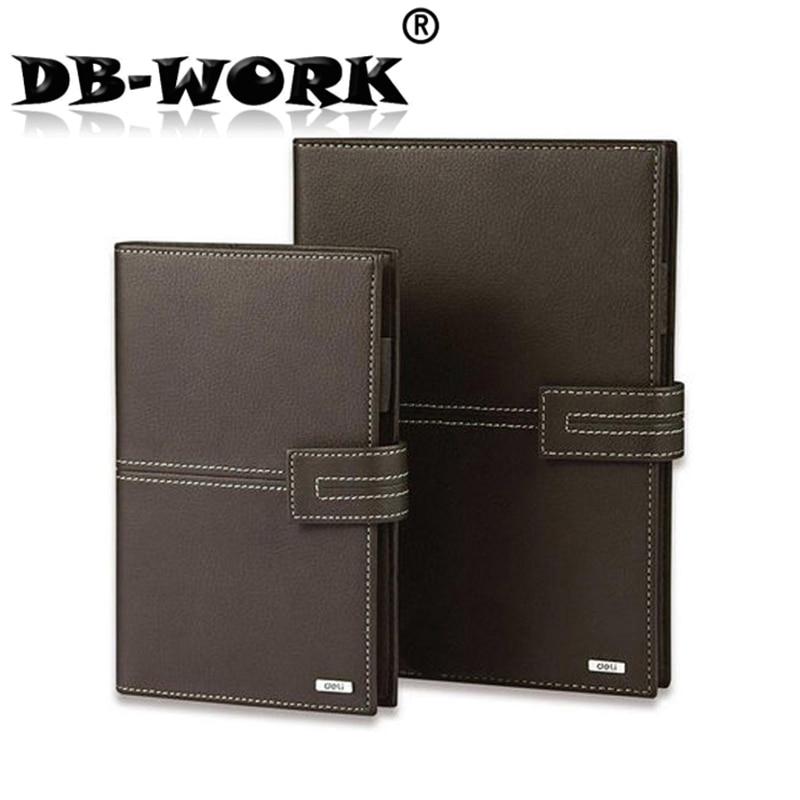 Deli 3158 lakan läder A5 anteckningsblock bärbara datorer Dagbok läder kontors kopia av manuell läder anteckningsbok