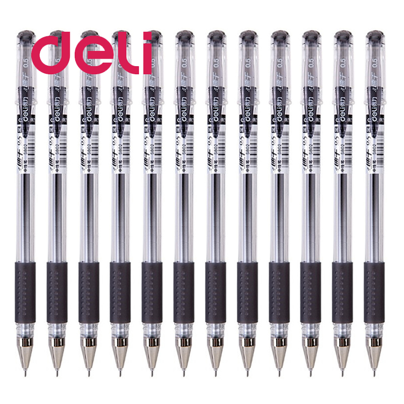 Deli 1PCS Gel Pen S802 Quick-drying 0.5mm Full Needle Black Business Office Writing Smooth Gel Pen Sticks Test Student Supplies