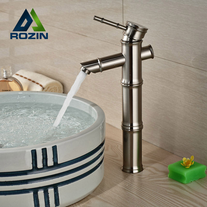 ФОТО Deck Mounted Single Handle Basin Sink Faucet One Hole Countertop Bathroom Vessel Sink Mixer Taps Brushed Nickel