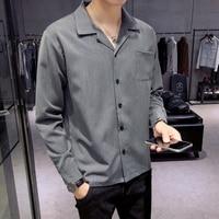 2018 Spring New Social Men's Shirt Slim Fashion Gray Black Business Casual Dress Shirt Long Sleeve Lapel Chemise Homme