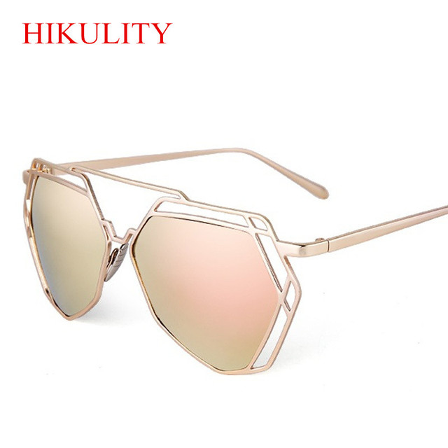 Women Luxury Brand Sunglasses Polygon Pink Ladies Sunglasses 2018 Geometric  Super Mirror Sun Glass Lunette Rose Gold Glasses a23d211c55