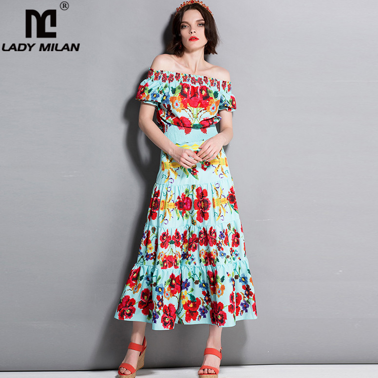 Lady Milan Womens Slash Neckline Printed Blouse with Floral Tiered Skirts Fashion Two Piece Dresses Runway Twinsets