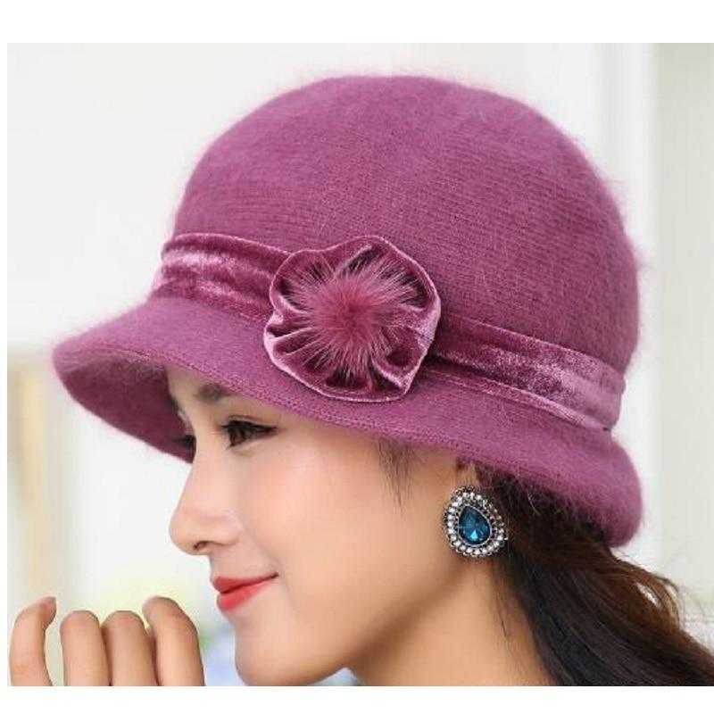 New Fashion Women Winter Hat Set Blommor Skullies Ull Mixed Rabbit - Kläder tillbehör - Foto 5