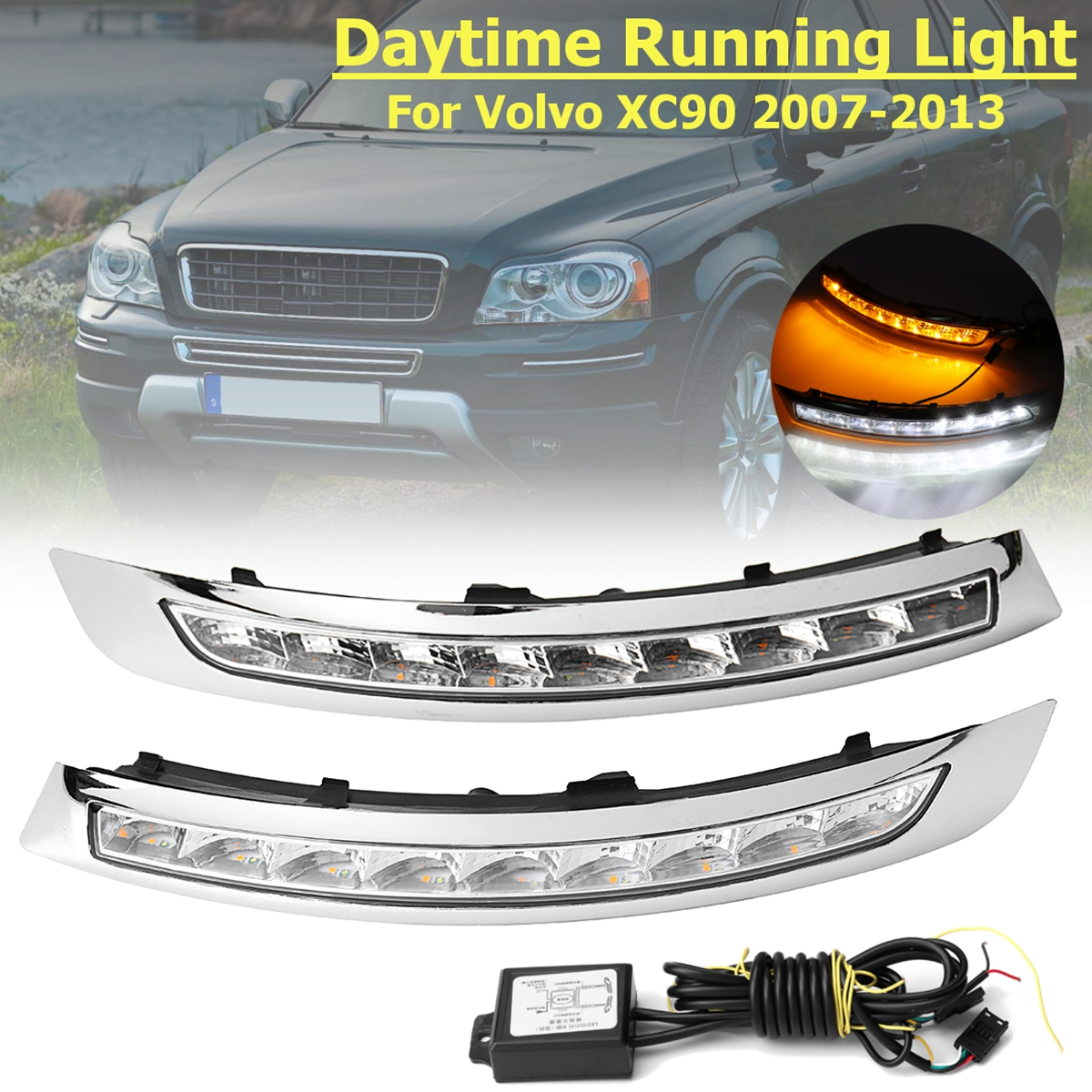 1 Pair LED DRL Daytime Running Lights Lamp Turning Signal fog lamp 12V 6000k Fog Lamp Frame Fog Light For Volvo XC90 2007~2013 купить недорого в Москве