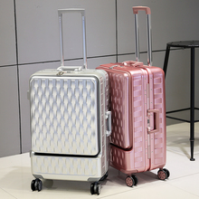 Quality Aluminum Frame +PC Luggage Prepositioned Pocket Trolley Suitcase Universal wheels Travel Bag