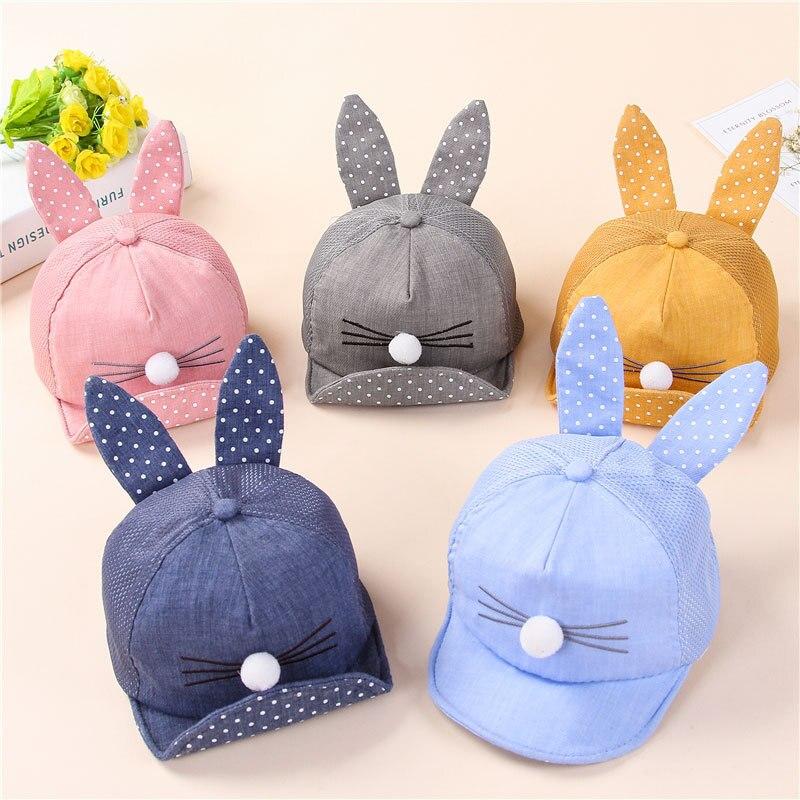 Cute Baby Cartoon Baseball With Ear Hats Cotton Mesh Visors Infant Boy Sun Caps