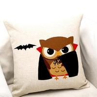 1 PC 45*45 cm Travesseiro Capa de Almofada de Linho Algodão Misturado Morcego Vampiro do Dia Das Bruxas Frete Grátis