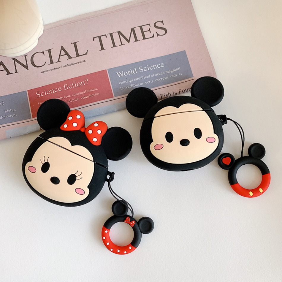 3D Cute Cartoon Mouse Anime Case For <font><b>Airpods</b></font> 2 Case Silicone Headphones Covers For Apple Air pods Case For Headphone hand Ring image