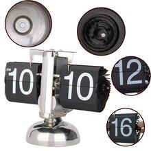 Auto digital quartz flip page mechanism table clock black/silver
