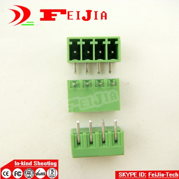 (50pcs/lot) 15EDG-3.5-4P Bend Pin PCB Screw Terminal Block Connector 3.5mm Pitch 4 Pins Plug in hot factory direct wholesale idc40 male plug 40pin port header terminal breakout pcb board block 2 row screw