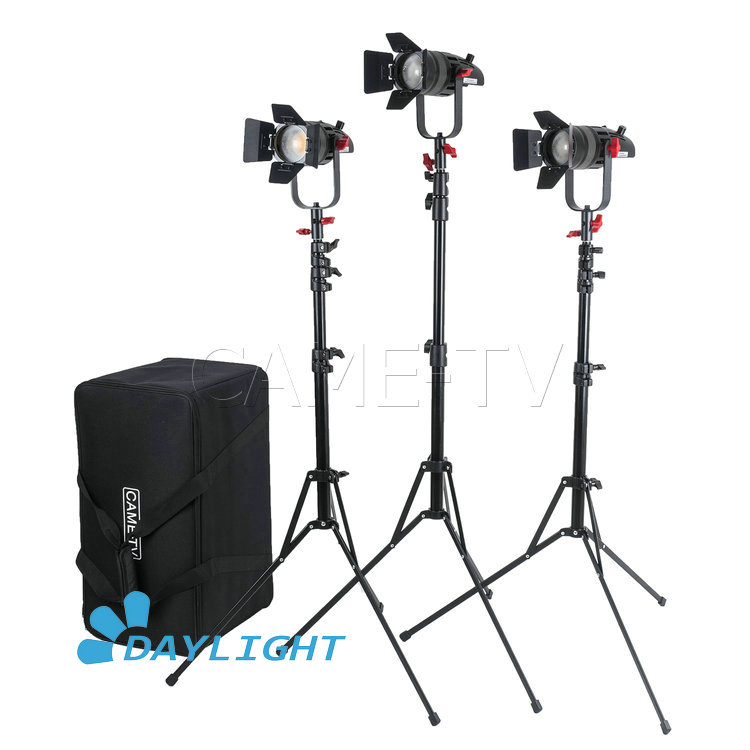 3 Pcs CAME TV Boltzen 30w Fresnel Fanless Focusable LED Daylight Kit With Light Stands-in Photo Studio Accessories from Consumer Electronics
