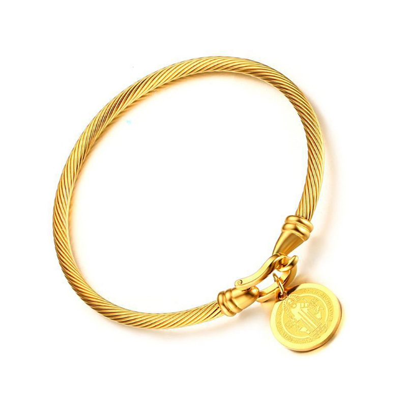 Gold-color Saint Benedict Medal Cuff Charm Bracelets & Bangles for Women Stainless Steel Wire Catholicism Party Pulseira Jewelry