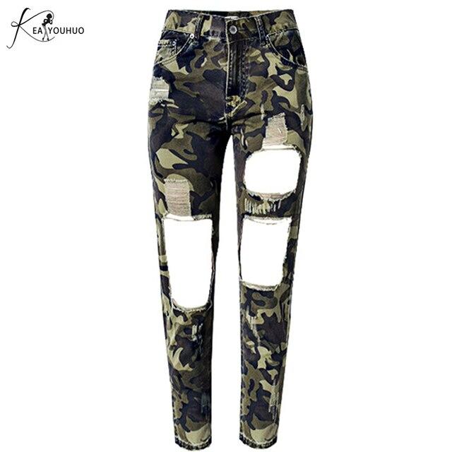 2018 Autumn Joggers Women Pants Military Female Army Camo Pants Female High  Waist Camouflage Jeans Green 92ea096acbbe