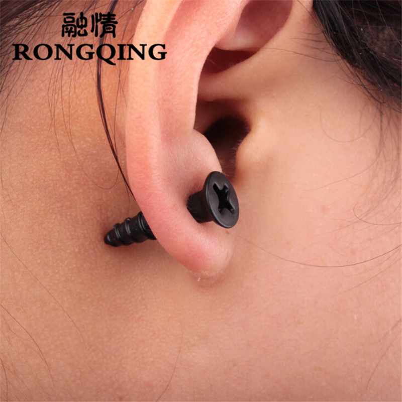 RONGQING 1pair New Fashion Earrings Punk Gothic Jewelry 3D Across screw Earrings for Punk Men Women Gifts
