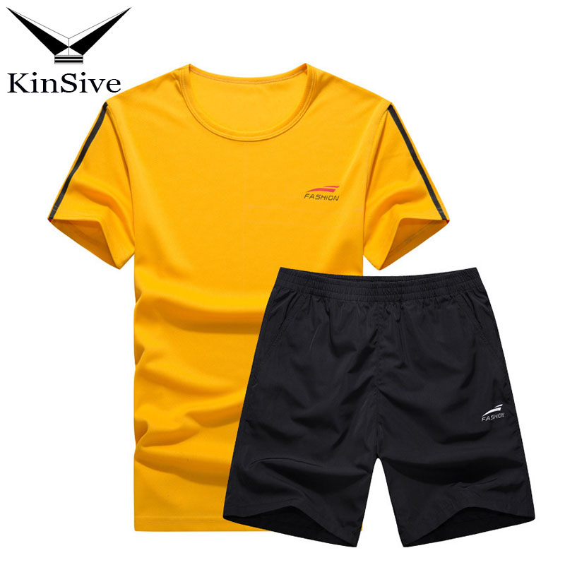 2018 Tracksuit Men Fitness Clothing Two Piece Set Summer Mens Sportwear Quick Drying Sho ...