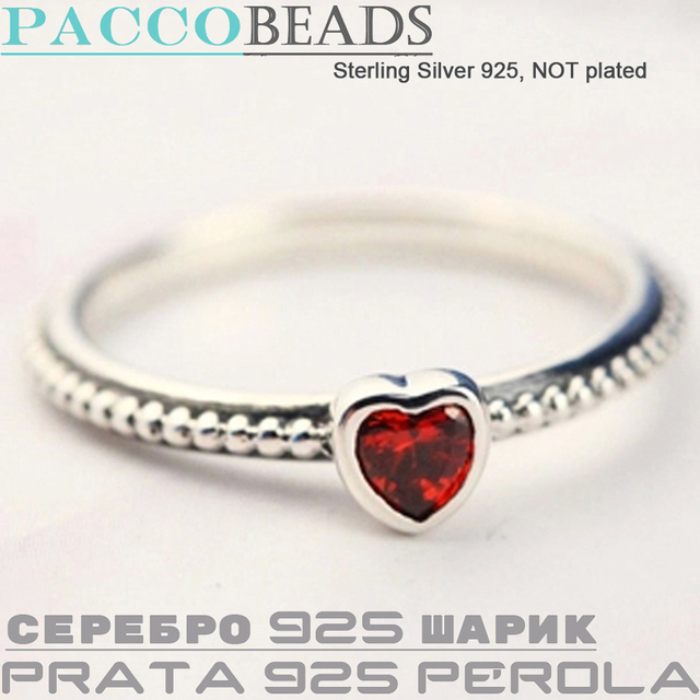 07559b575 Red Heart SILVER RING Authentic 925 Sterling Silver Rings For Women  Compatible with Pandora Style Jewelry 110B008