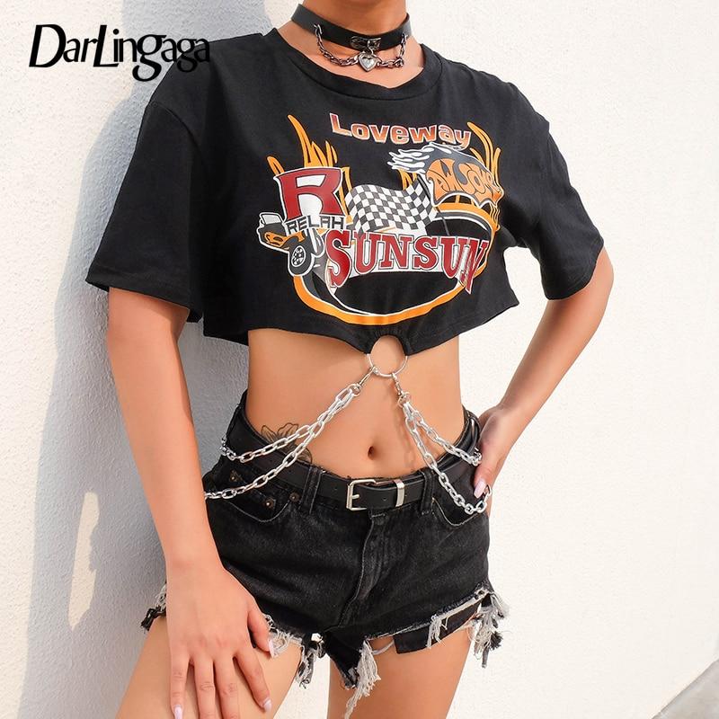 Darlingaga Streetwear Punk Black Tshirt Women Loose Print Chains Crop Top Tee Short Sleeve Clothes 2019 Summer T-shirts Cropped