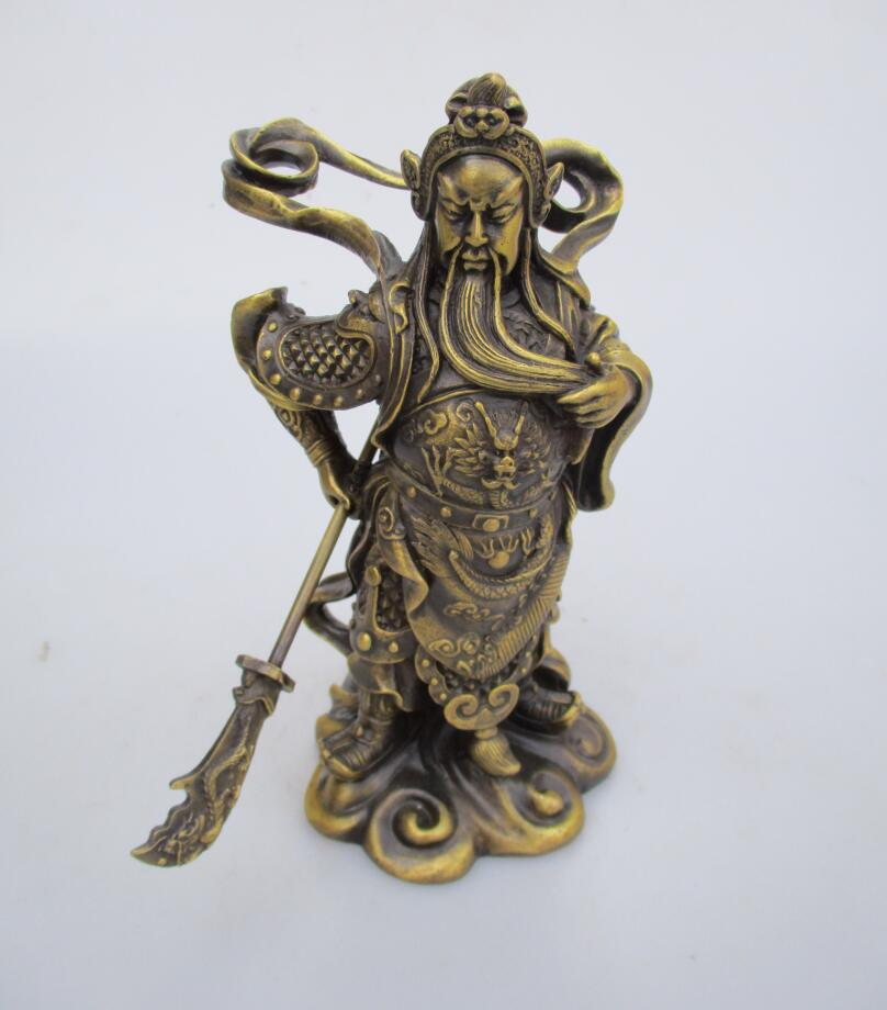 High: 19CM!!! Art Collection Home Decorated Old Brass Carved Chinese original warrior Statue/Guangong Sculpture