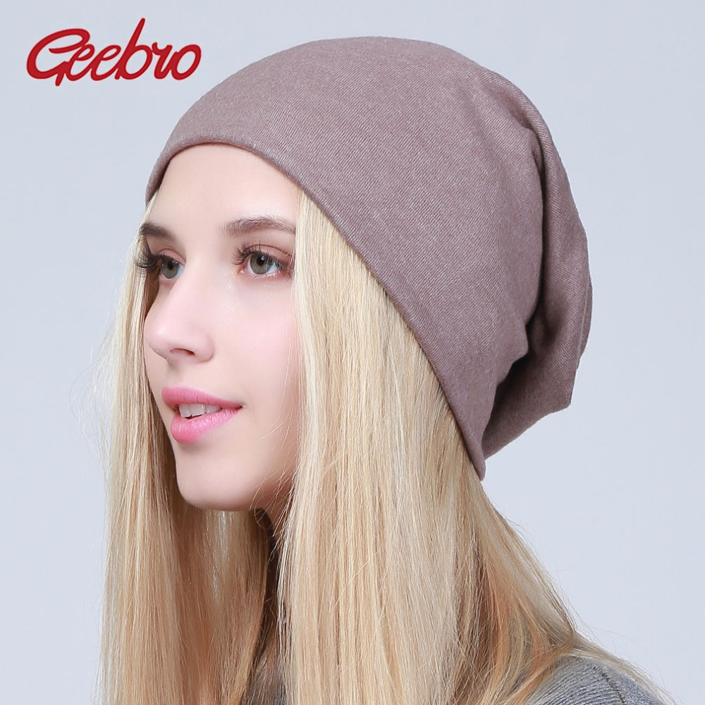244da4bccd66c Geebro Women s Plain Beanie Hat 2018 Spring Cotton Slouchy Beanie for Women  Knitted Bone Hat Ladies Black Skullies Cap JS293A