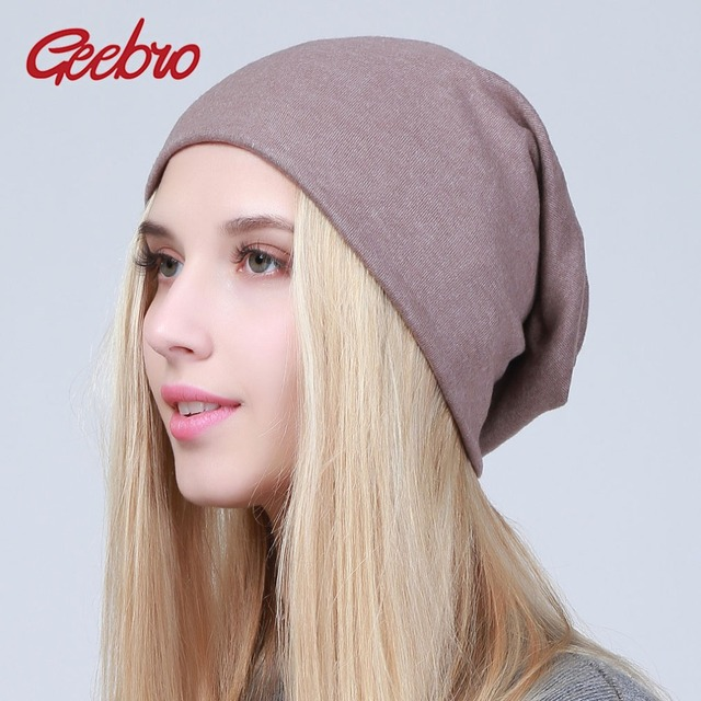 3090619c03ba0 Geebro Women s Plain Beanie Hat 2018 Spring Cotton Slouchy Beanie for Women  Knitted Bone Hat Ladies Black Skullies Cap JS293A