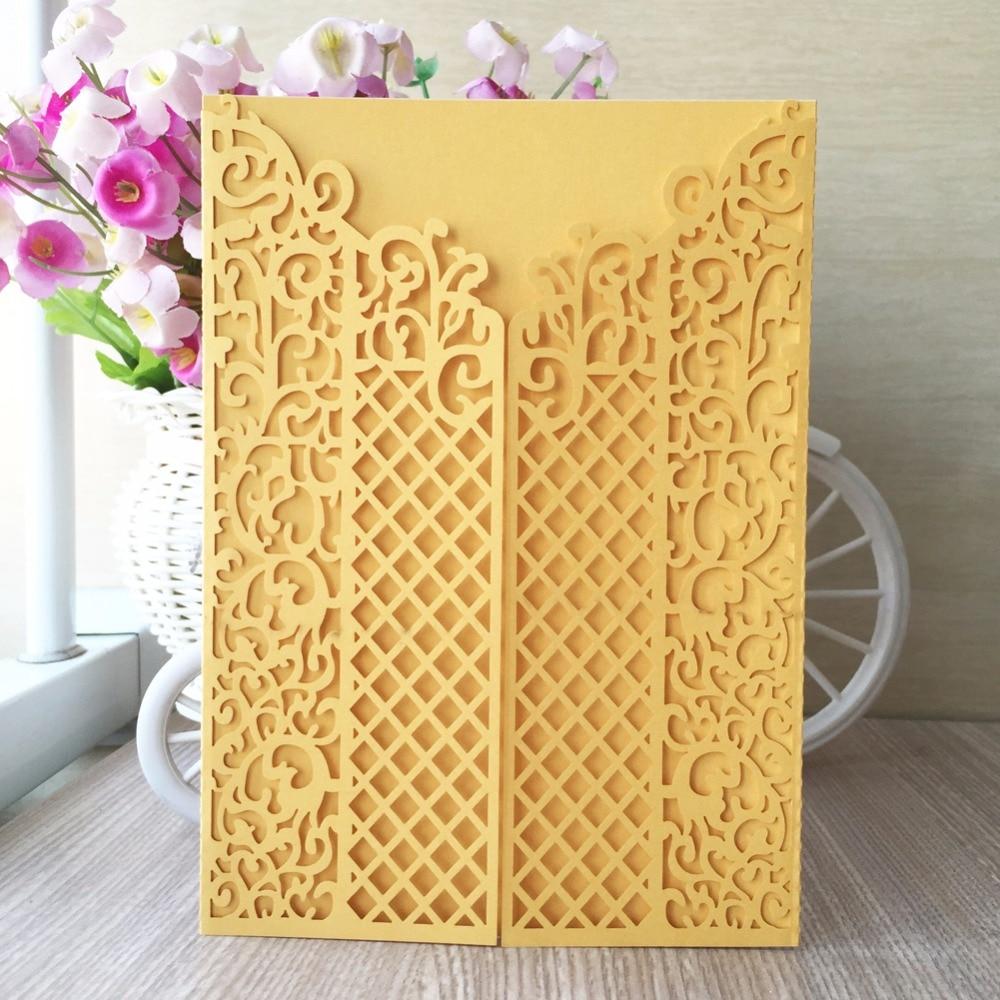 12pcs laser cut pearl paper craft card christmas yellow