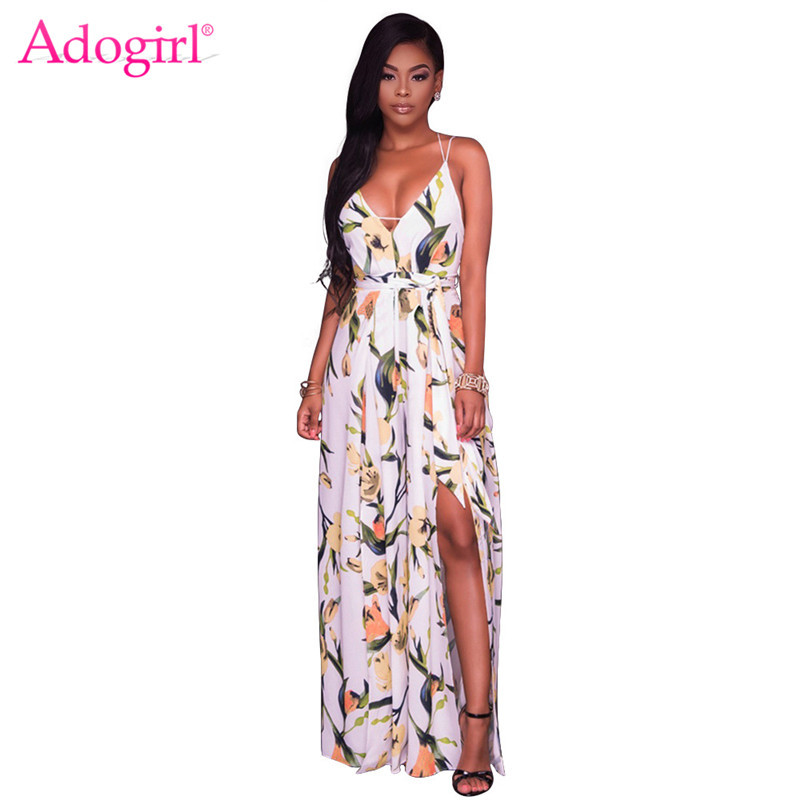 d24ded136966 Adogirl 2018 Summer Floral Print Spaghetti Straps Loose Jumpsuit Sexy V  Neck Backless Side Slit Wide Leg Women Rompers Beachwear