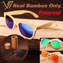 100% Реального Натурального Бамбука Вуд Деревянный Зеркальные Зеркало Солнцезащитные Очки Поляризованные Мужские Женщин Солнцезащитные Очки Мужчин Gafas Óculos Де Золь Мадера