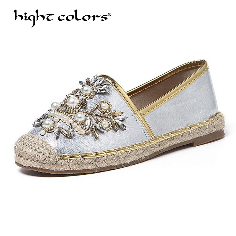 New Women Casual Flat Shoes Fashion Slip On Round Toe Breathable Rhinestone Loafers Straw Hemp Rope espadrilles Shoes Big Size women and men s casual flat shoes loafers fisherman espadrilles boat shoes men lazy hemp rope weave shoes size 35 45