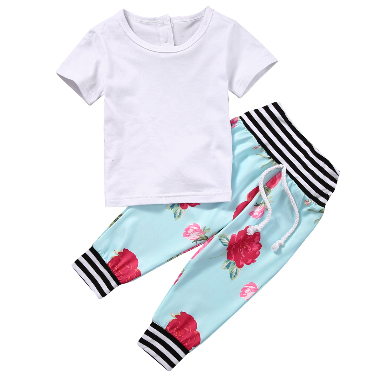 2017 Summer Hot sales Newborn Baby Boys Girls Clothes White Cotton Short Sleeve T-shirt+ Floral Pants Outfits Baby Clothing Set