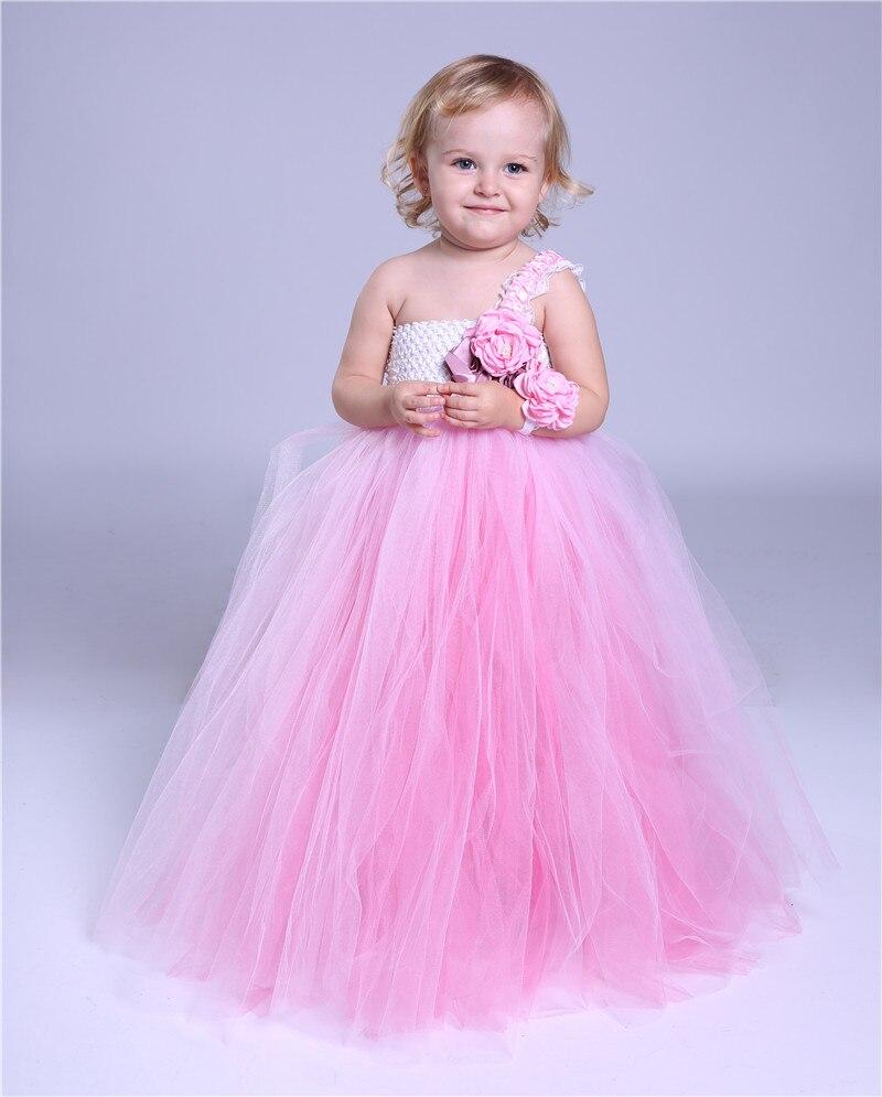 Pink Tutu tulle bebé dama de honor niña vestido de novia esponjosa ...
