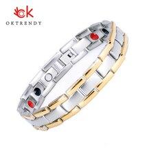 Oktrendy Titanium Steel Negative ions Health Bracelet Bangle for Mens Jewelry Magnet 3000 Gauss Energy pain relief