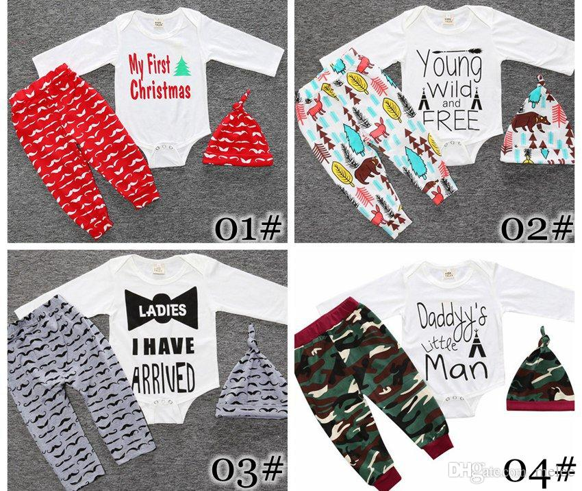 baby christmas deer design printed jumpsuits long sleeve tops+trousers+hats toddler cotton cartoon pattern 20colors