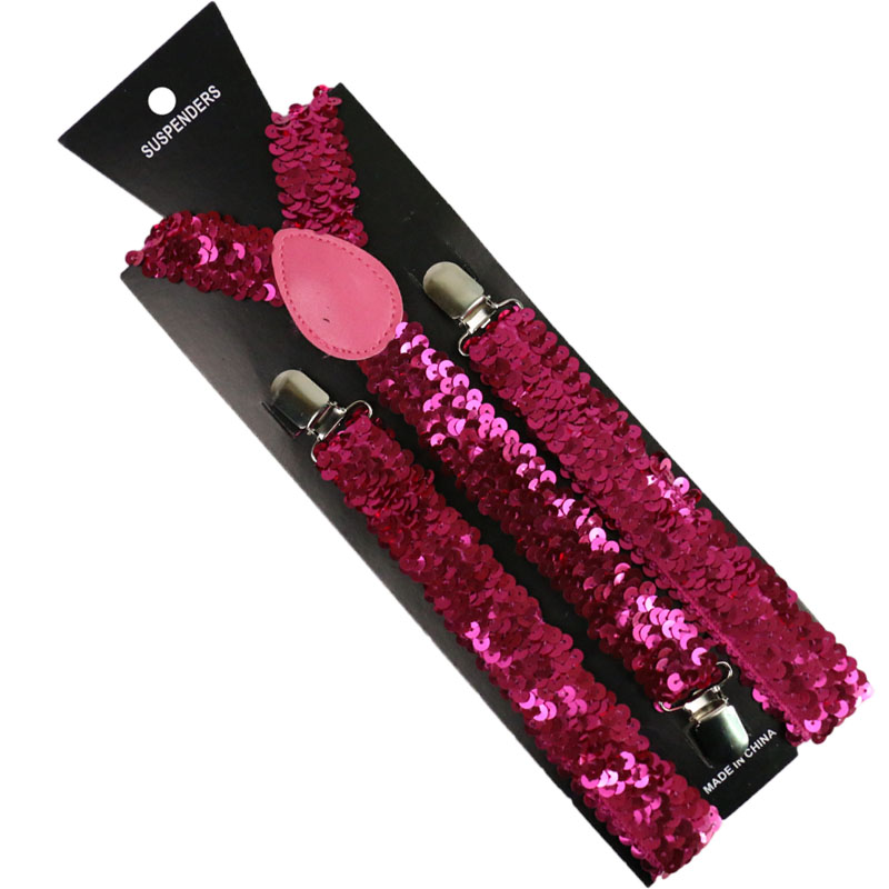 Winfox Women Black Red Silver Metallic Shinny Sequin Suspenders Female