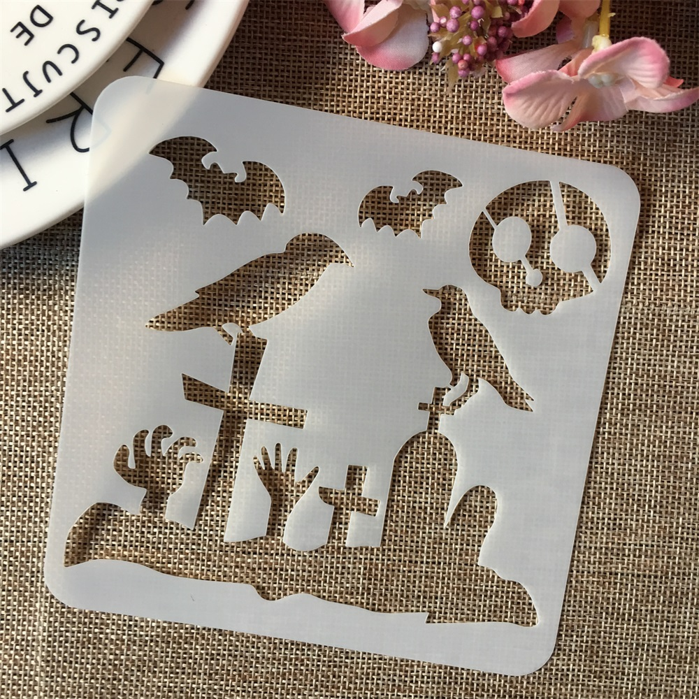 1Pcs 5*5inch Crow Bat Skull Tomb Halloween DIY Layering Stencils Painting Scrapbook Coloring Embossing Album Decorative Template