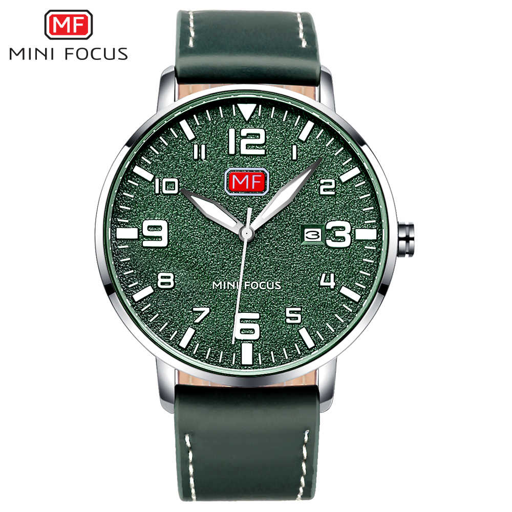 MINI FOCUS Army Sport Ultra Thin Quartz Watches Men Leather Strap Military Waterproof Wristwatch Man Clock Relogios 0158G Green