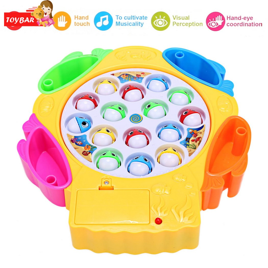 Baby Child Kid Boy Girl Electric Spin Fishing Game Toy Set Hand eye coordination flexiabble skills