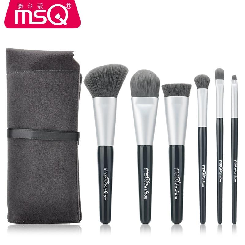MSQ 6PCS Makeup Brush Set With Soft Fluffy Hair and Comfortable Flannelette Bag High Quality блеск для губ msq 6 cristal led msq cc01 6