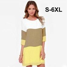 a64508956 النساء حجم كبير متعدد الألوان قطع خياطة فساتين قصيرة 3/4 كم الأزياء  Colorblock الإناث مستقيم البسيطة حزب اللباس الصيف 5XL 6XL