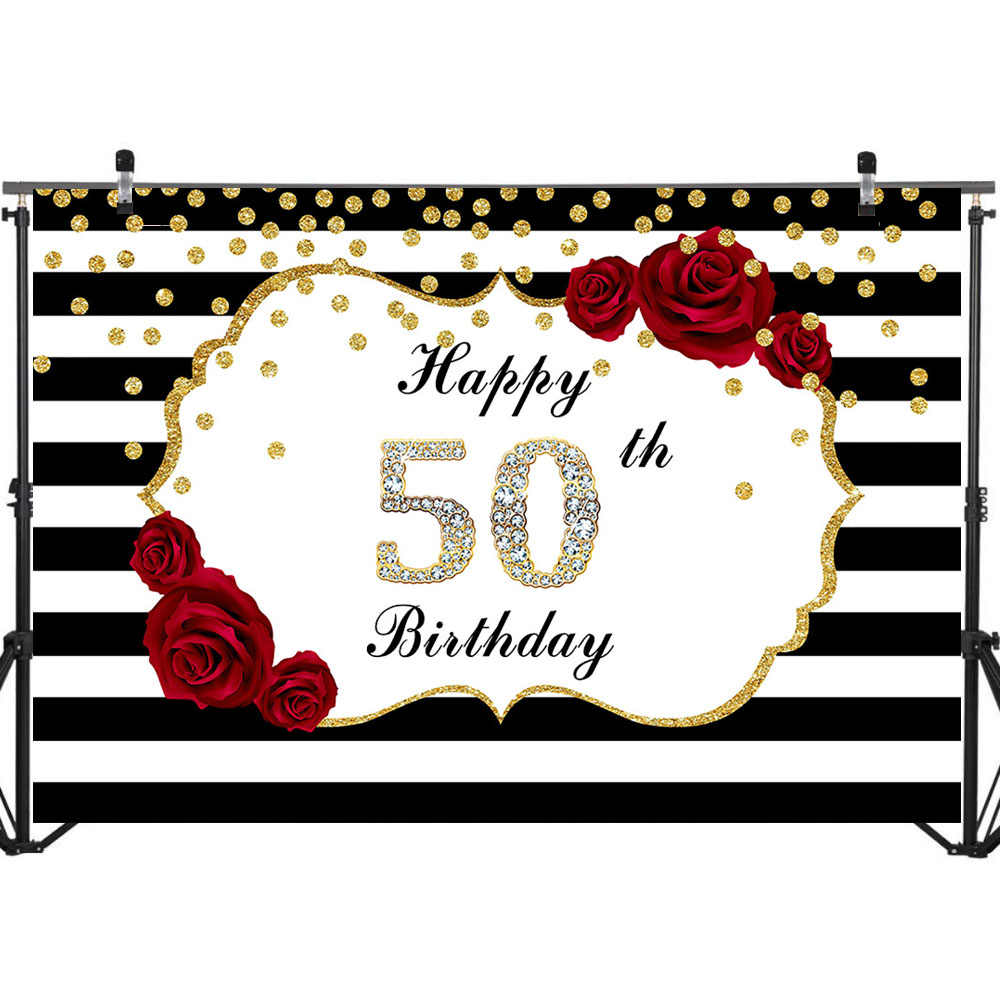 Happy 50th Birthday Backdrop Red Rose Flower Black And White Stripes Photo Background Glitter Gold Dots Diamonds Backdrops Background Aliexpress