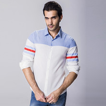 Brand New Men s Casual Shirt Social Patchwork Color Red Stripe Shirt Full Sleeve Turn Down
