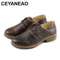 CEYANEAO Shoes Woman Flat Black Retro Oxford Shoes for Women 100% Authentic Leather Flat Shoes Female spring Footwear (358)